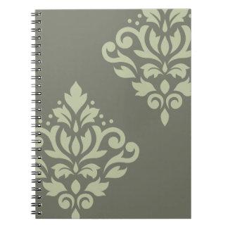 Scroll Damask Art I Lt on Dk Green Notebook