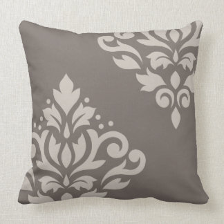 Scroll Damask Art I Lt on Dk Taupe Cushion