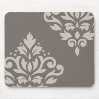 Scroll Damask Art I Lt on Dk Taupe Mouse Pad