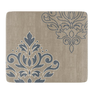 Scroll Damask Art I (outline) Cream Blues Sand Cutting Board