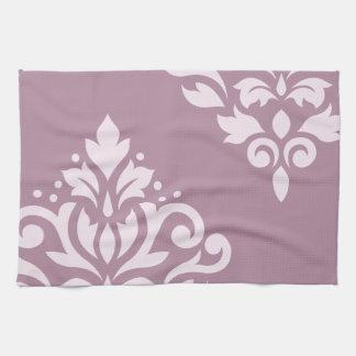Scroll Damask Art I Pink on Mauve Tea Towel