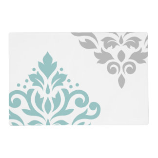 Scroll Damask Art I Teal & Grey on White Laminated Placemat