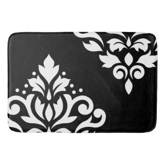 Scroll Damask Art I White on Black Bath Mat