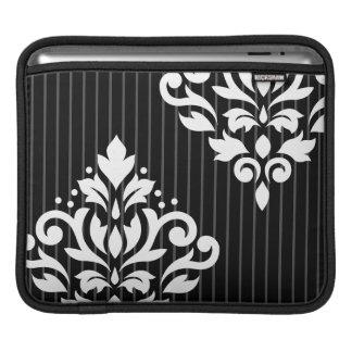 Scroll Damask Art I White on Gray Stripes & Black iPad Sleeve