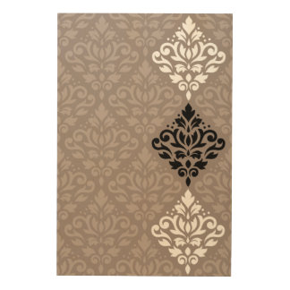 Scroll Damask Art Ptn Black White Taupes