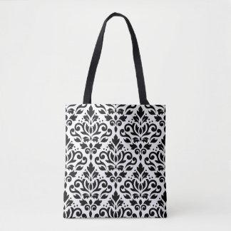 Scroll Damask Big Pattern Black on White Tote Bag