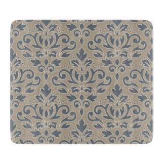 Scroll Damask Big Pattern Cream Line Blue Sand Cutting Board
