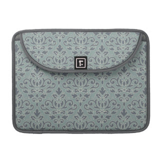 Scroll Damask Big Pattern (outline) Crm Blue Teal Sleeve For MacBook Pro