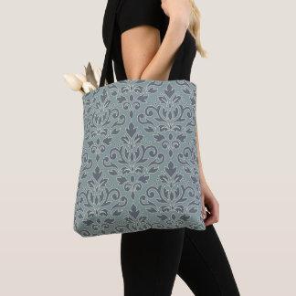 Scroll Damask Big Pattern (outline) Crm Blue Teal Tote Bag