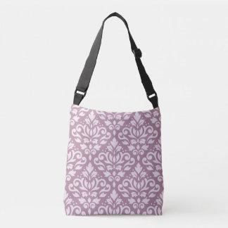 Scroll Damask Big Pattern Pink on Mauve Crossbody Bag