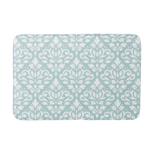 Scroll damask big ptn white on duck egg blue b bath mat for Big w bathroom mats