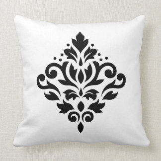 Scroll Damask Design Black Cushion
