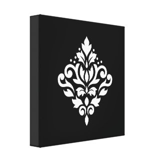 Scroll Damask Design White on Black Stretched Canvas Prints