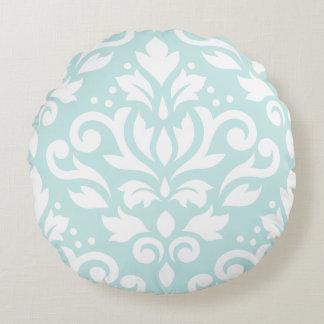 Scroll Damask Design White on Duck Egg Blue Round Cushion