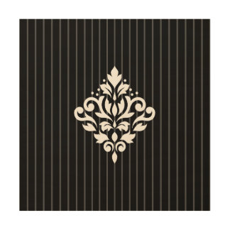 Scroll Damask Design White on Gray Stripes & Black Wood Wall Decor