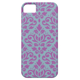 Scroll Damask Large Pattern Plum on Blue iPhone 5 Covers