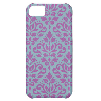 Scroll Damask Large Pattern Plum on Blue Case For iPhone 5C