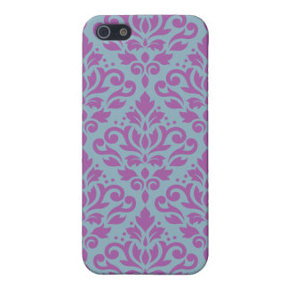 Scroll Damask Large Pattern Plum on Blue Case For The iPhone 5