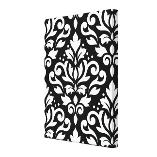 Scroll Damask Large Pattern White on Black Stretched Canvas Prints