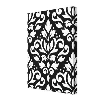 Scroll Damask Large Pattern White on Black Canvas Print