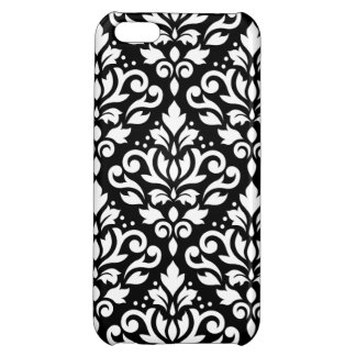 Scroll Damask Large Pattern White on Black iPhone 5C Covers