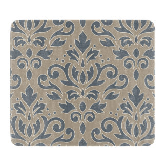 Scroll Damask Lg Pattern Cream Line Blue & Sand Cutting Board