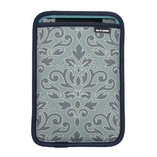 Scroll Damask Lg Pattern (outline) Cream Blue Teal iPad Mini Sleeve