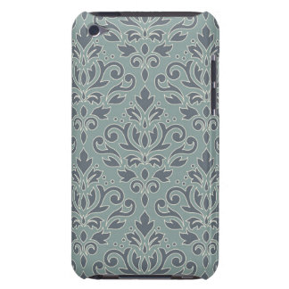Scroll Damask Lg Pattern (outline) Cream Blue Teal iPod Touch Cover