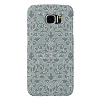 Scroll Damask Lg Pattern (outline) Cream Blue Teal Samsung Galaxy S6 Cases