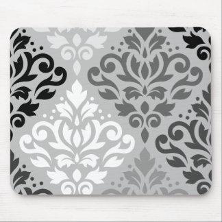 Scroll Damask Lg Ptn Art BW & Grays Mouse Pad