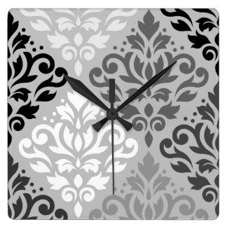 Scroll Damask Lg Ptn Art BW & Grays Square Wall Clock