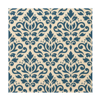 Scroll Damask Lg Ptn Dk Blue on White Wood Wall Art