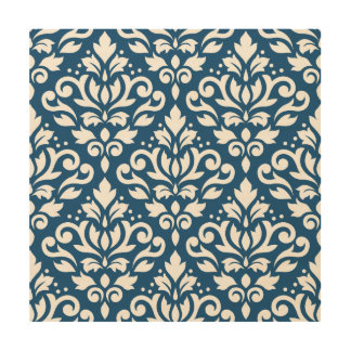 Scroll Damask Lg Ptn Dk White on Blue Wood Wall Art