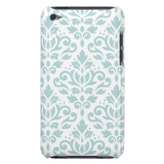 Scroll Damask Lg Ptn Duck Egg Blue (B) on White Barely There iPod Cases