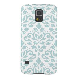 Scroll Damask Lg Ptn Duck Egg Blue (B) on White Cases For Galaxy S5