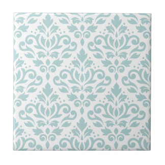 Scroll Damask Lg Ptn Duck Egg Blue (B) on White Ceramic Tile
