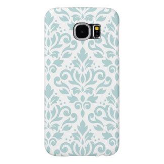 Scroll Damask Lg Ptn Duck Egg Blue (B) on White Samsung Galaxy S6 Cases