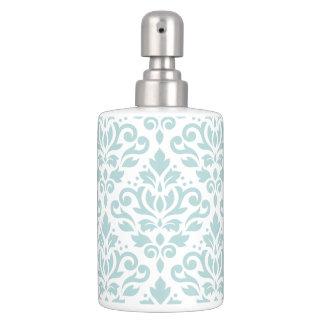 Scroll Damask Lg Ptn Duck Egg Blue (B) on White Soap Dispenser And Toothbrush Holder