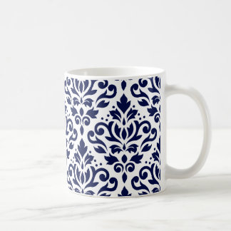 Scroll Damask Lg Ptn Navy Blue on White Coffee Mug
