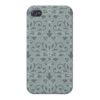 Scroll Damask Lg Ptn (outline) Cream Blues Teal iPhone 4/4S Cover