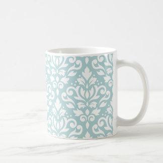 Scroll Damask Lg Ptn White on Duck Egg Blue (B) Coffee Mug