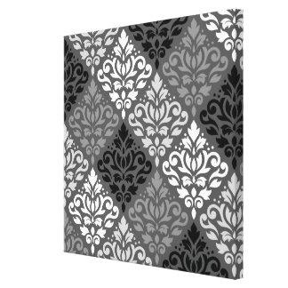 Scroll Damask Off-Set Ptn BW & Greys Canvas Print