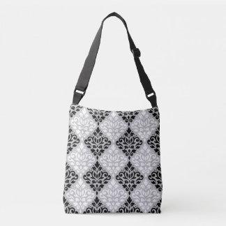 Scroll Damask Pattern B&W on Gray Crossbody Bag