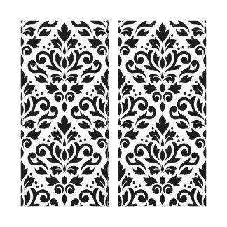Scroll Damask Pattern Black on White Stretched Canvas Prints