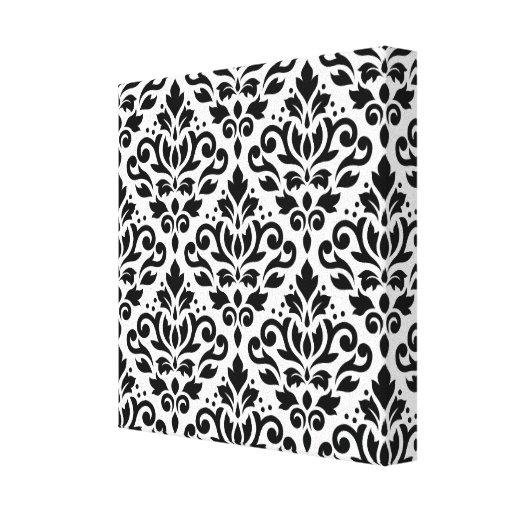 Scroll Damask Pattern Black on White Gallery Wrap Canvas