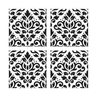 Scroll Damask Pattern Black on White Canvas Print