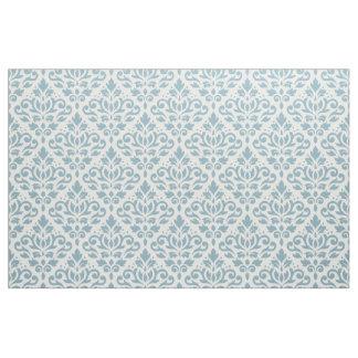 Scroll Damask Pattern Blue on Cream Fabric