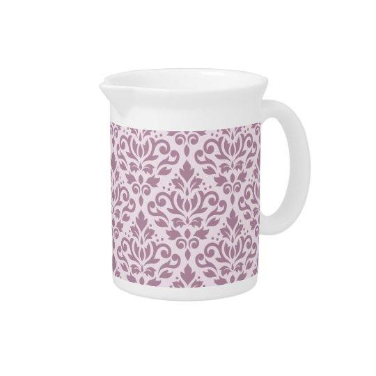 Scroll Damask Pattern Mauve on Pink Beverage Pitcher