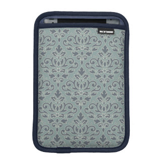 Scroll Damask Pattern (outline) Cream Blue Teal iPad Mini Sleeve
