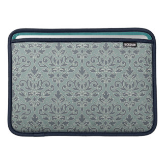 Scroll Damask Pattern (outline) Cream Blue Teal MacBook Sleeve